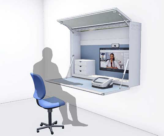 Man sitting at Telehealth cabinet