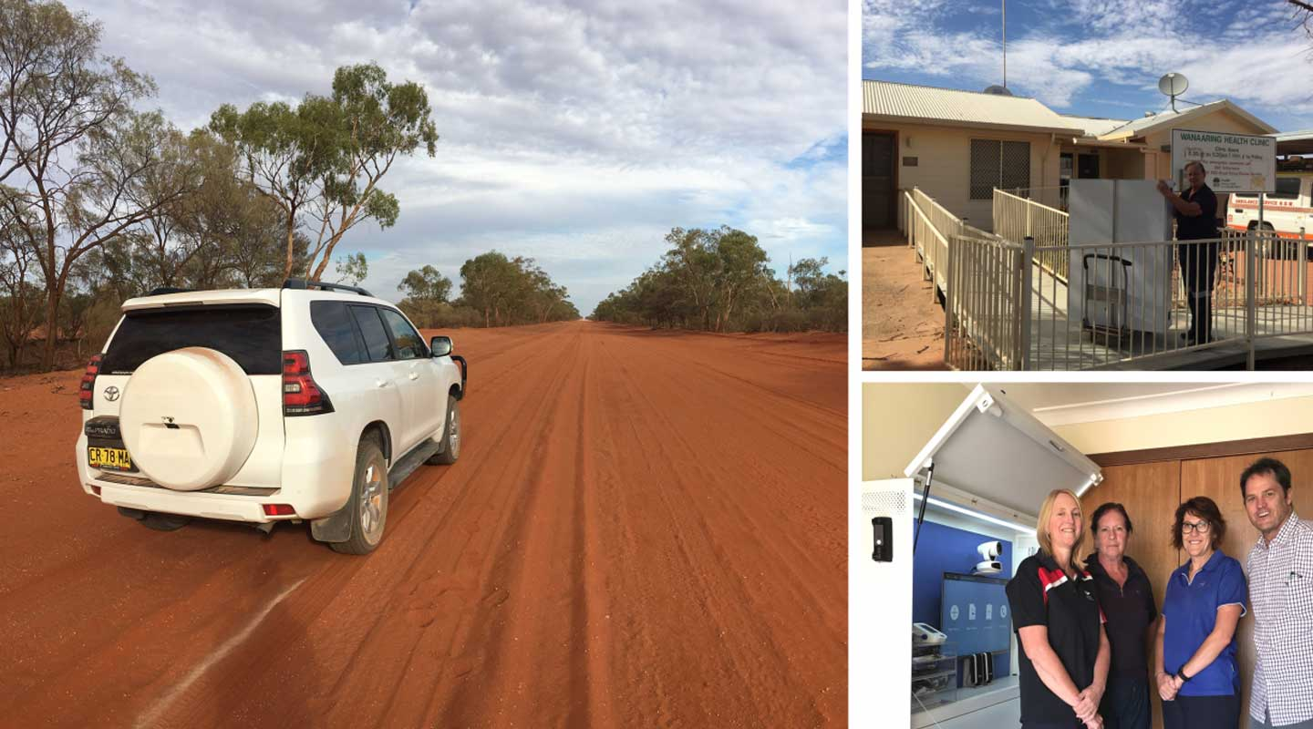 Trio of images: White car on red road in rural Australia; Delivery of telehealth technology to health clinic; Local nurses with their new medical equipment
