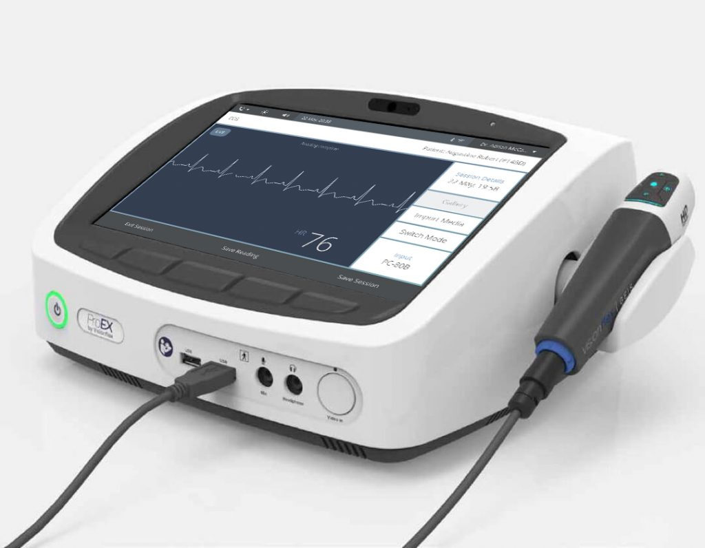 ProEX telehealth hub with ECG scan reading