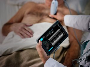 image of patient and portable ultrasound