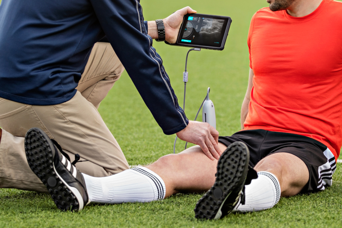 image of football play and portable ultrasound